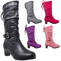 Kids Boots Mid Calf Girls Lace Up Low Heel w/ Buckle Strap Accent Shoes