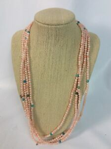 """Extra Long 102"""" Jay King Sterling Silver 925 Angel Skin coral Turquoise necklace"""