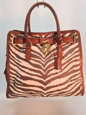 Michael Kors Hamilton Whipped Tiger Animal Print Canvas Brown NS  BAG HANDBAG