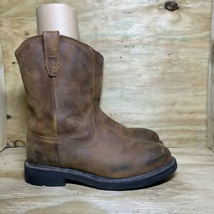 Ariat Sierra Steel Toe Work Boots Mens Size 10.5 Extra Wide EE Brown Leather