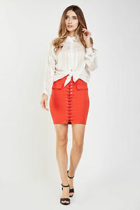 Ladies/Womens  Red  Lace up Front  Zip Back Bodycon Mini Skirt. Size 8 - 10