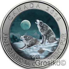 CANADA 2016 $2 HOWLING WOLVES & MOON 3/4 Oz SILVER COLOR MINTAGE 100 PCS COA