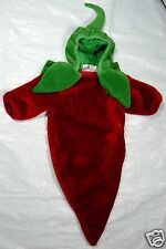Chili Pepper Halloween Costume - 0 to 6 months - One Piece Red Green Zippered