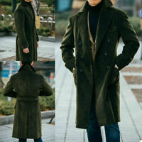 Green Corduroy Men's Suits Casual Business Double Breasted Long Jacket Overcoats