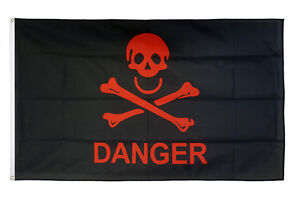Danger Red Pirates Flag 5 x 3 FT 100% Polyester With Eyelets Banner Sign