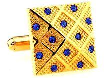 Gold Square With Blue Gems Cufflinks  Business New Men's Shirt Wedding CuffLink