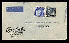 DUTCH EAST INDIES 1940 AIRMAIL ADVERTISING OPTICIANS JOSEPH + CO to GENEVA USA