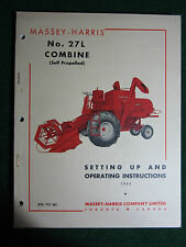 1952 Massey Harris Ferguson 27L Combine Owner Operator Manual Self-Propelled