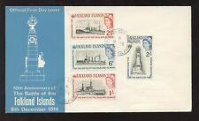 FALKLAND ISLANDS 1964 BATTLE SHIPS ILLUSTRATED FDC