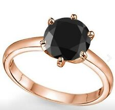 1.05 CWT BLACK DIAMOND SOLITAIRE RING 10K ROSE GOLD ENGAGEMENT APRIL BIRTH