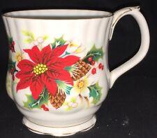Antique Royal Albert English China Cup - Poinsettias & Holly