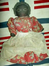 """Wonderful, 10"""" antique cloth, 1930s era doll with nicely stitched features, hair"""