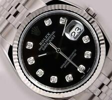 Rolex Datejust 116234 SS New Style Jubilee-18k Fluted Bezel-Black Diamond Dial-