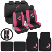 Pink Love Heels Design Car Seat Cover, Floor Mats Steering Wheel Cover Combo Set