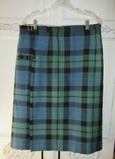Vtg Plaid Wool Kiltkirt Hector Russell Green Blue Plaid Kiltmaker Scotland L EUC