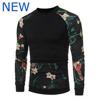 O Neck Sweater Pullover Tops Long Sleeve Jumper T-Shirt Mens Floral Casual