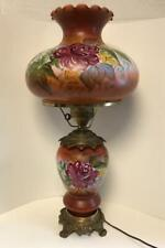 Antique Gwtw Large Stunning Hand Painted Roses Two Light Electric Hurricane Lamp