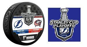 2019 PLAYOFFS PUCK & STICKER TAMPA BAY LIGHTNING 1ST ROUND BLUE JACKETS NHL CUP