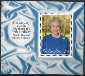 """GIBRALTAR - 2001 MNH """"Queen's 75th Birthday"""" Souvenir Sheet !!!"""