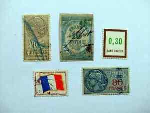 France French Colonies Francaises Revenue Stamps 5v lot BM101