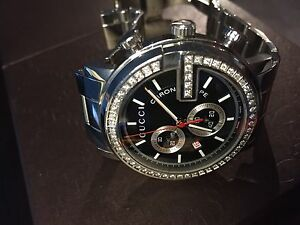 Gucci G Chrono Collection Stainless Steel and Diamond Bezel, 44 mm