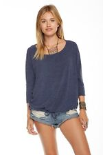 CHASER LOVE KNIT OPEN NECK 3/4 SLEEVE PULLOVER SWEATER TOP $84 L DRAWSTRING HEM