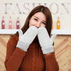 Female Knits Winter Warm Mittens Wool Thicker Wrist Length Fashion Solid Pattern