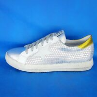 Meline Damen Schuhe Low Top Sneaker Sportschuhe Leder Silber Gold Np 139 Neu