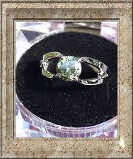 Ladys Light GREEN MOISSANITE & NATURAL BLACK DIAMOND .925 SILVER RING S.7.5