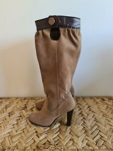 Sachi Tan & Brown Suede Leather Boots Sz 7.5 / 38.5