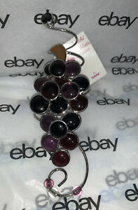 Wine Bottle Collar Glass Ornament By:  Cluster of Grapes Silvertone Brand New