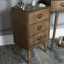 Brown retro style wooden 3 drawer bedside chest of drawers bedroom furniture