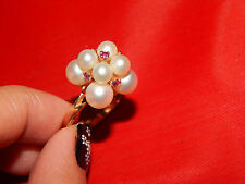 14K YELLOW GOLD  PEARL & RUBY COCKTAIL RING  VERY RARE MODEL RING SIZE 6.5
