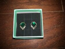 Green Emerald Stud Earrings Classic V Design Artificial