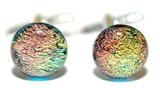 BEAUTIFUL MULTI COLOR FUSED GLASS CUFF LINKS (211)