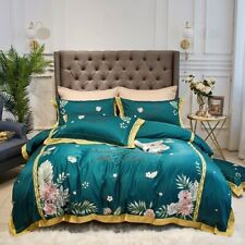 Luxurious Tropical Forest Egyptian Cotton Embroidery Duvet Cover Fitted Sheet