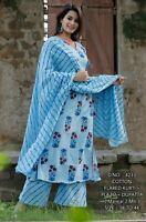Indian Women Kurta Kurti Dupatta Palazzo Set Cotton Ethnic Salwar Kameez Dress S