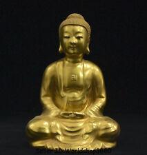 """9.6"""" Qianlong Marked Old China Porcelain Gilt Sakyamuni Tathagata Buddha Statue"""