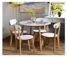 BRAND NEW RRP £399 Julian Bowen Tiffany Dining Table Set + 4 Chairs -White/Oak