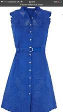 Karen Millen BNWT Blue Gorgeous  Anglaise Cut work  Dress UK 14