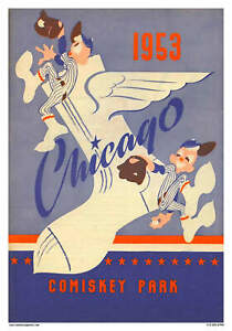 VINTAGE REPRODUCTION SPORTS POSTER 1953 CHICAGO WHITE SOX BASEBALL COMISKEY PARK