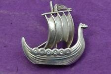 Rare Anton Michelsen 3 D silver long ship brooch Denmark 925 S 1893 -on mark