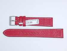 """FLUCO Genuine Vintage Leather Watch Band Strap 18 mm Red """"Montana-Ziege"""""""