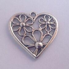 4 Tibetan Silver heart pendant with flower design - 28x29mm