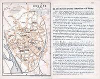 Moulins 1912 pt. plan ville orig. + guide (4 p.) Tour de l'Horloge Dreux-Brézé
