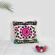 Embroidered Vintage Suzani Cushion Cover Decorative Floral Art Cotton Pillowcase