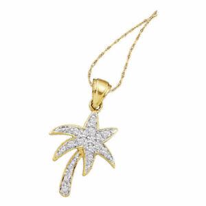 10k Yellow Gold Womens Round Diamond Palm Tree Nautical Pendant 1/10 Cttw