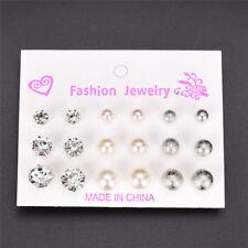 Vintage 9 Pair Rhinestone Pearl Earrings Set Fashion Ball Earrings Jewelry-SL