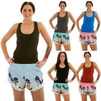 Womens Summer Shorts and Top Set Hawaiian Beach Swimming Ladies Vest Shorts