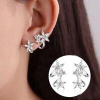 Damen 925 Sterling Silber Natürliche Zirkon Blumen Ohrclip Manschette Ohrringe
